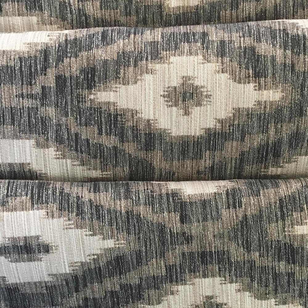 Ikat blue silver Gray Fabric