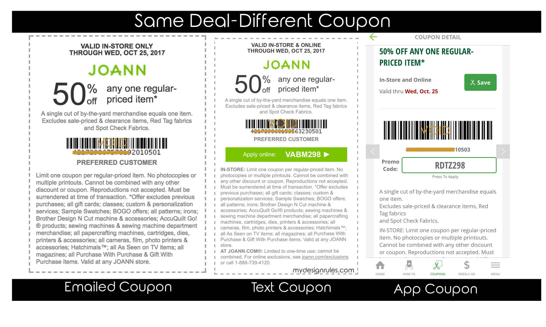 JoAnn Fabric Coupon Explanation