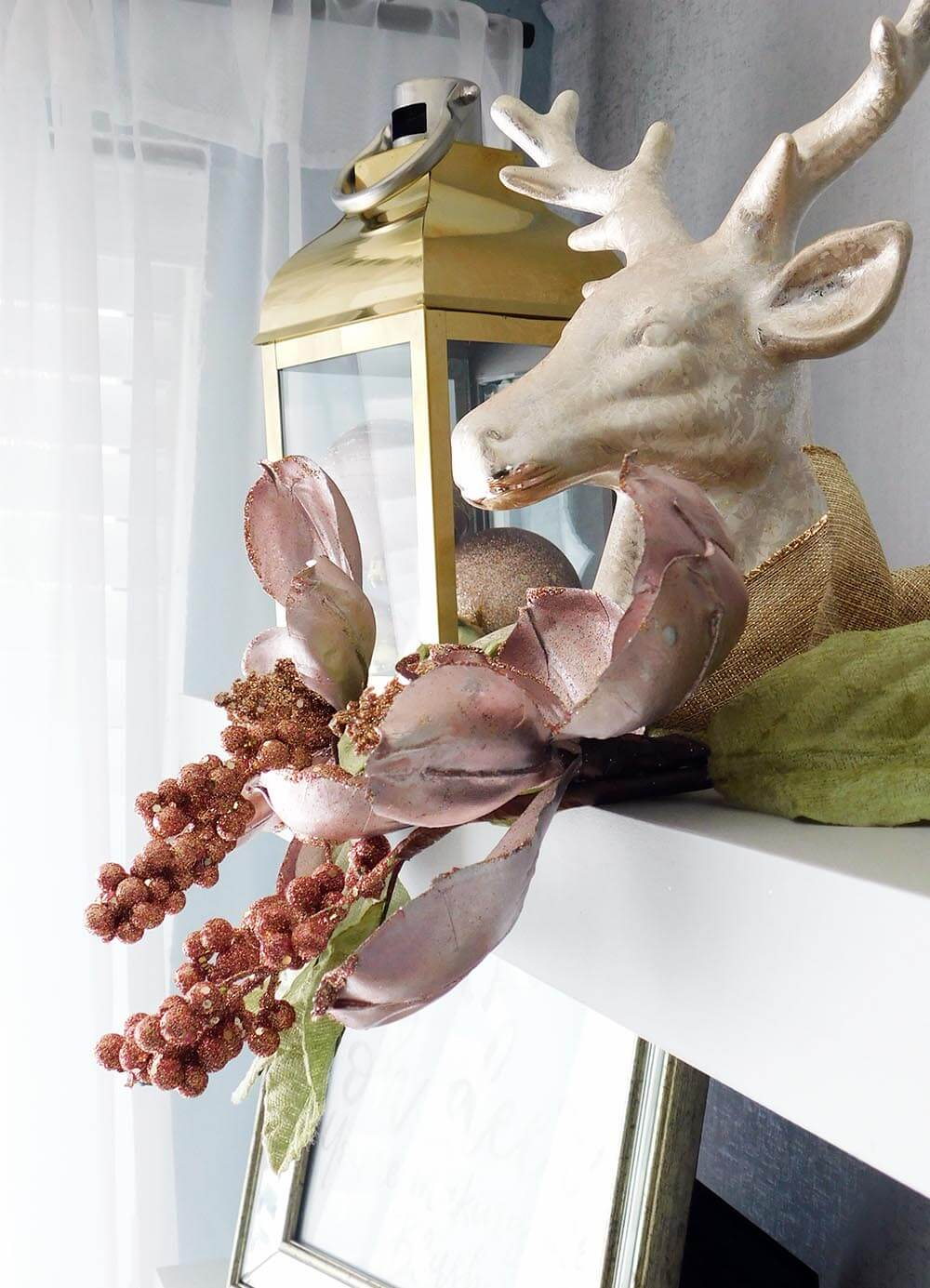Blush pink deer Christmas decor #pinkchristmas