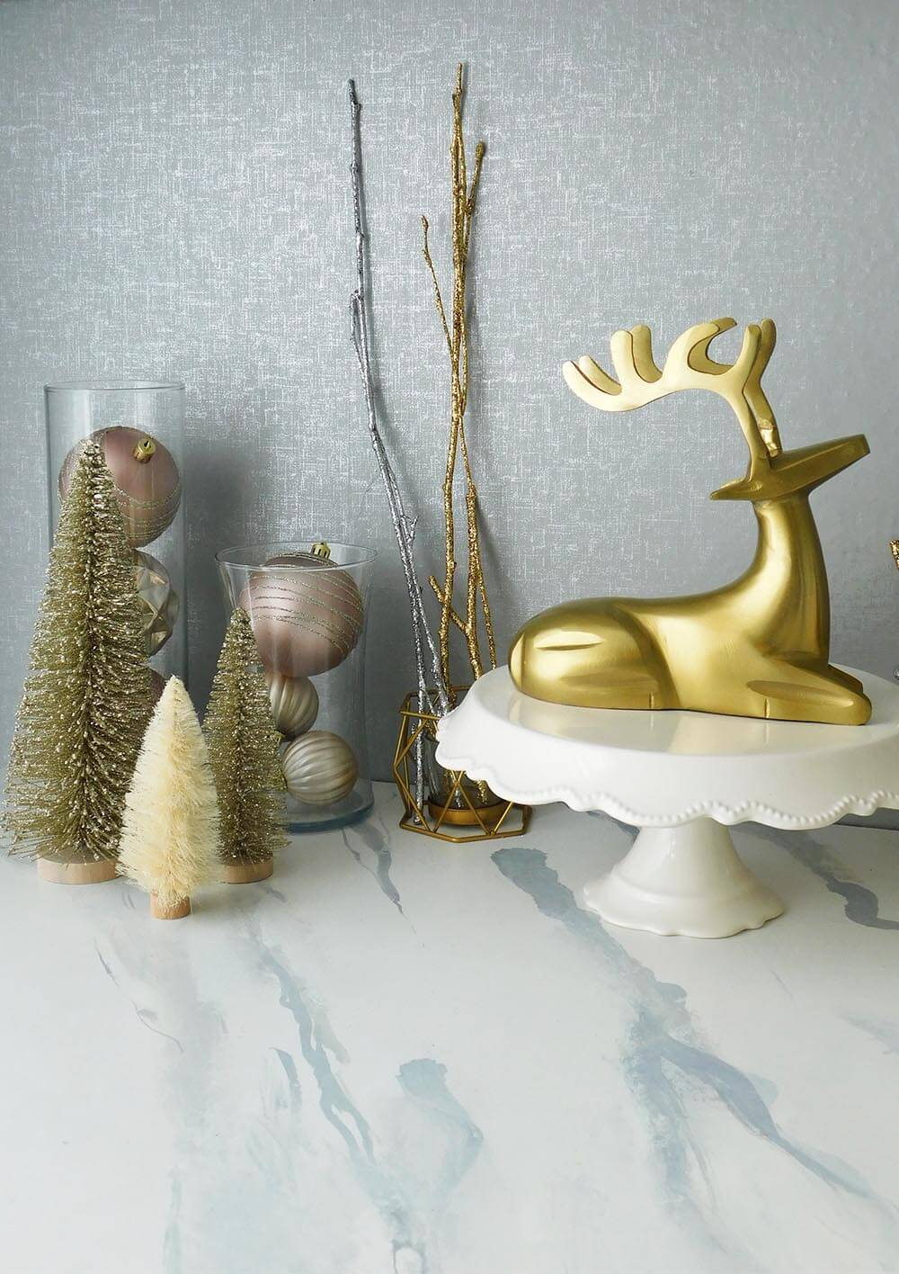 Gold deer and blush pink Christmas decorations