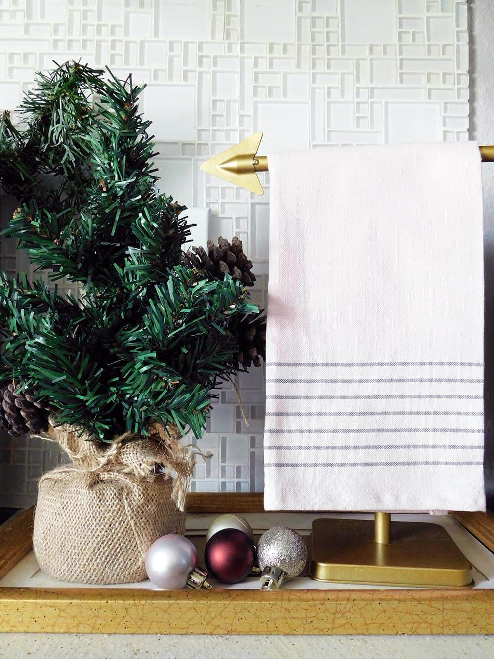 Ikea blush kitchen towel and mini Christmas tree #Christmasdecor