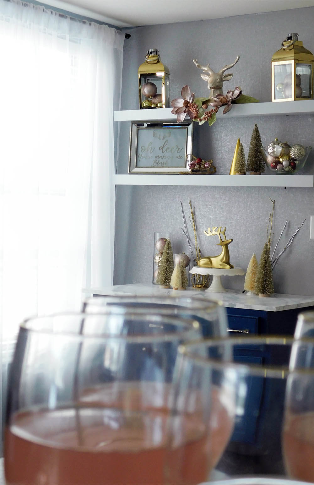 Blush Deer and Gold Christmas buffet decor