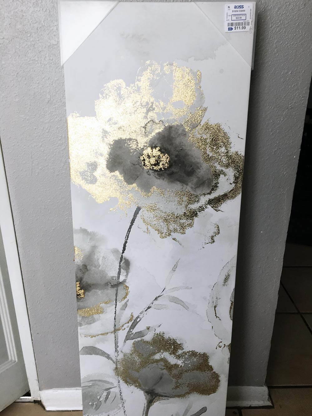 Before gold and silver flower canvas-How to Frame Canvas Art