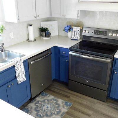 Wood Look Luxury Vinyl Tile-Tuxedo blue gray Kitchen-n