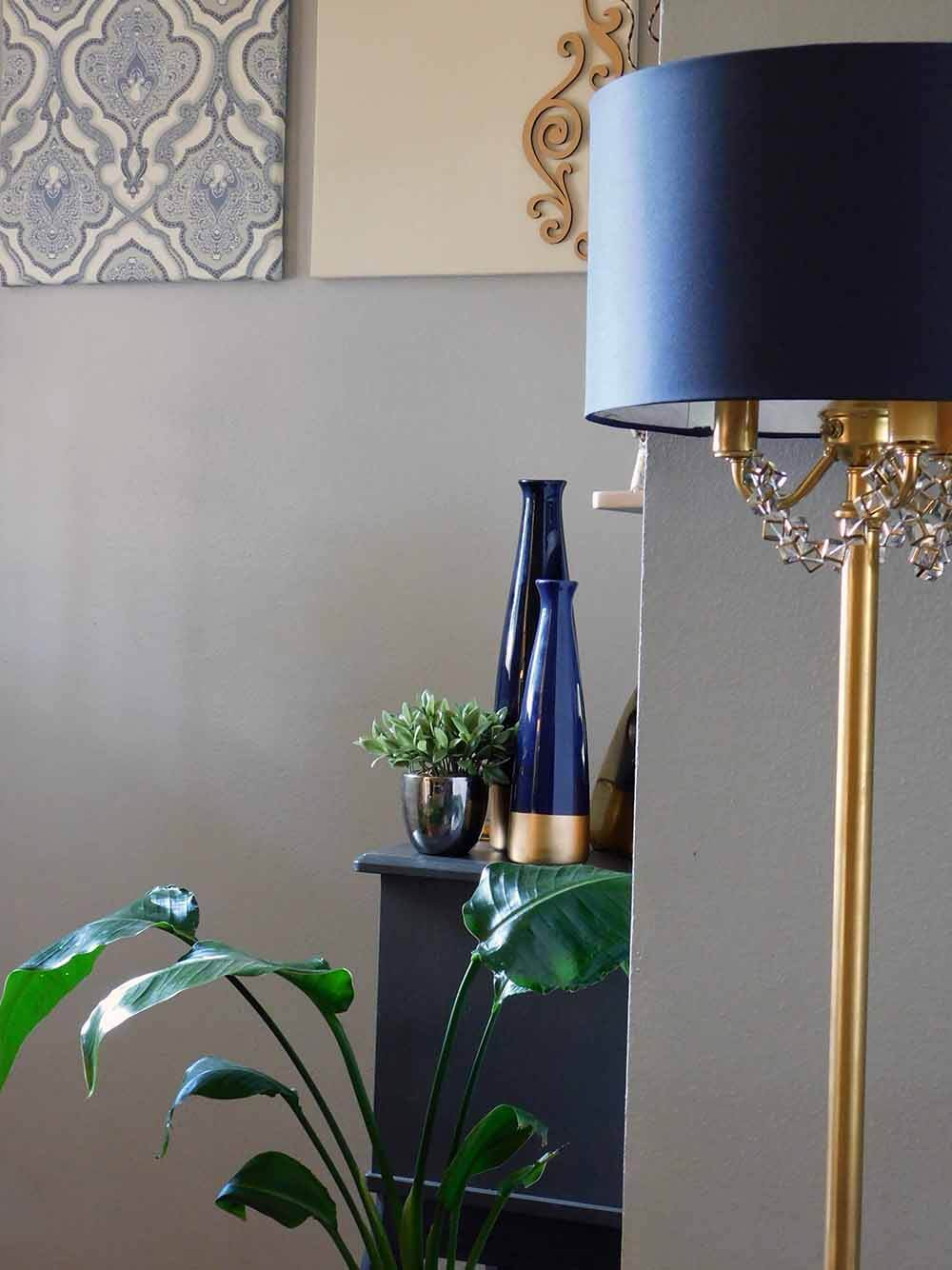 Navy and Gold entryway decor. DIY lamp