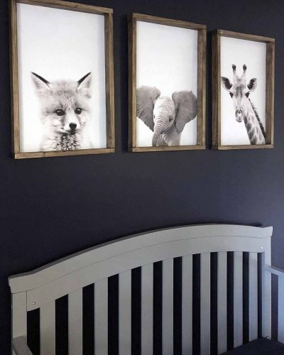 gray Crib and woodland animals in easy diy wood frame-sm