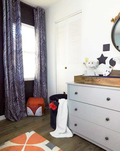 baby room dresser with DIY table changing table